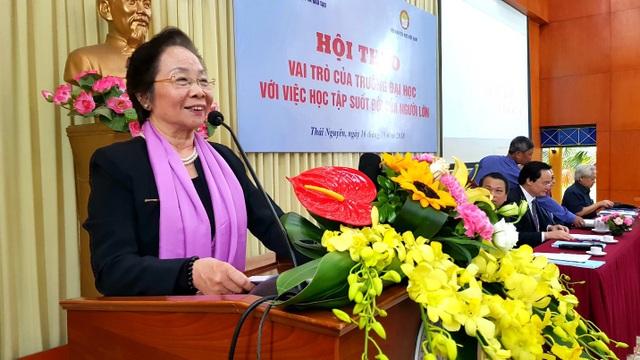 GS.TS Nguyễn Thị Doan, Chủ tịch TƯ Hội Khuyến học Việt Nam phát biểu.
