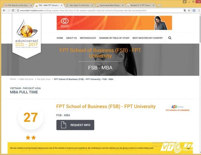 FSB là đại diện Việt Nam duy nhất lọt vào Top 30 trong khu vực Đông Á (Far East Asia) và Top 200 thế giới về đào tạo Thạc sĩ quản trị kinh doanh toàn thời gian.