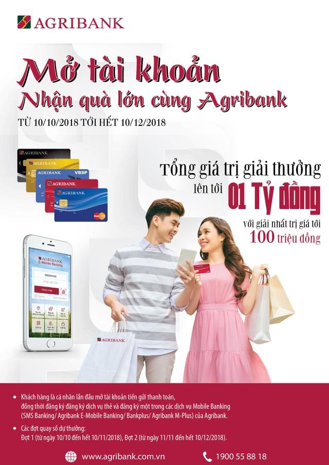 """Cơ hội nhận ưu đãi """"Kép"""" khi mở tài khoản và sử dụng dịch vụ của Agribank - 1"""