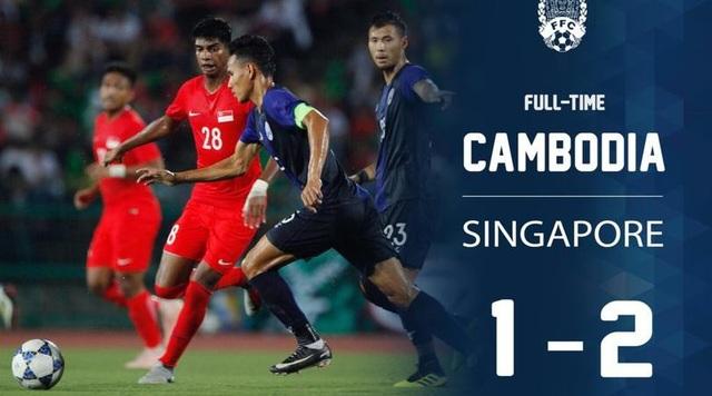 Campuchia để thua 1-2 trước Singapore
