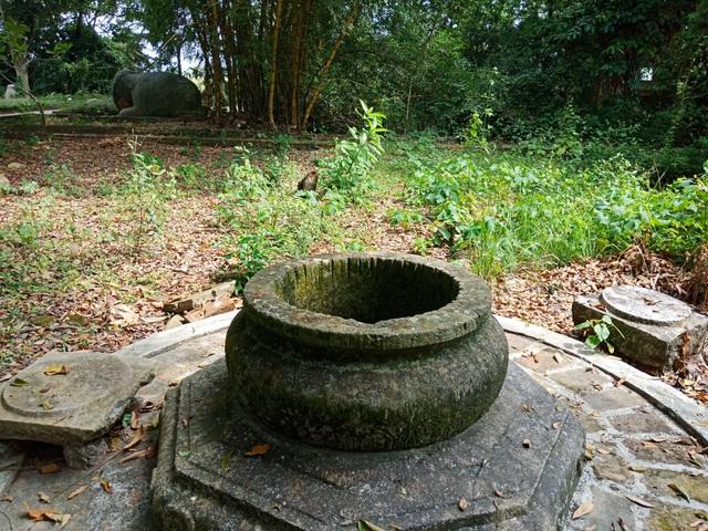 Cây cối, lá rụng bủa vây làm mất đi nét cổ kính vốn có của ngôi đền.