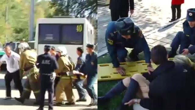 Cảnh sát và lực lượng cứu hộ có mặt tại hiện trường cấp cứu các nạn nhân.