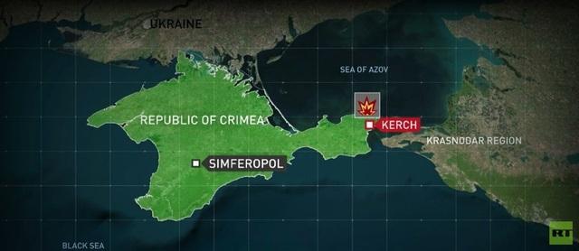 Bản đồ khu vực xảy ra vụ xả súng tại Crimea.