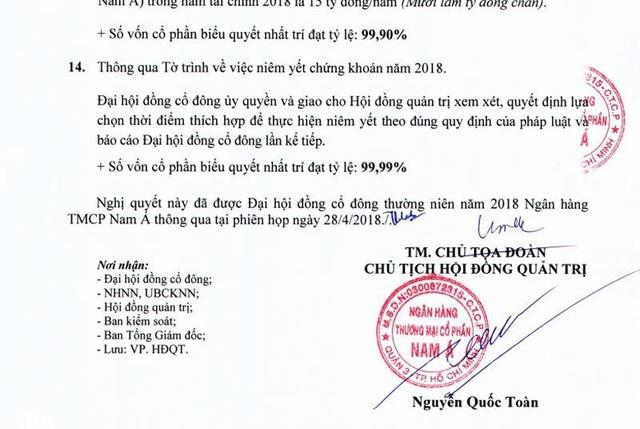 Ông Nguyễn Quốc Toàn trở lại làm chủ tịch NamABank.