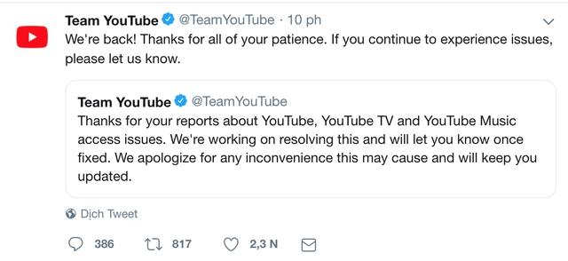 Youtube khắc phục lỗi truy cập trên toàn cầu sau hơn 3 tiếng - 2
