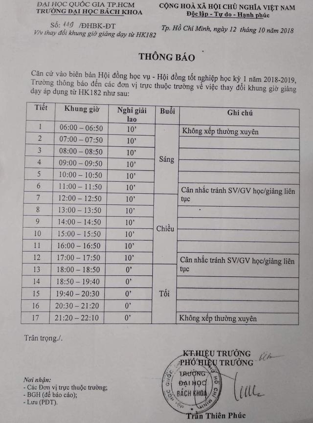Thông báo thay đổi khung giờ giảng dạy của Trường ĐH Bách khoa TPHCM.