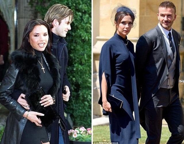 Vợ chồng David Beckham và Victoria Beckham hồi năm 1998 (trái) và 2018 (phải)
