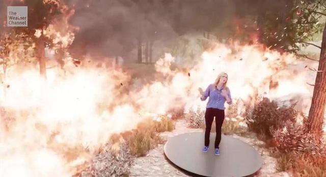 Người dẫn chương trình bị nhấn chìm trong biển lửa cháy rừng nhờ công nghệ hiện đại (Ảnh: The Weather Channel)