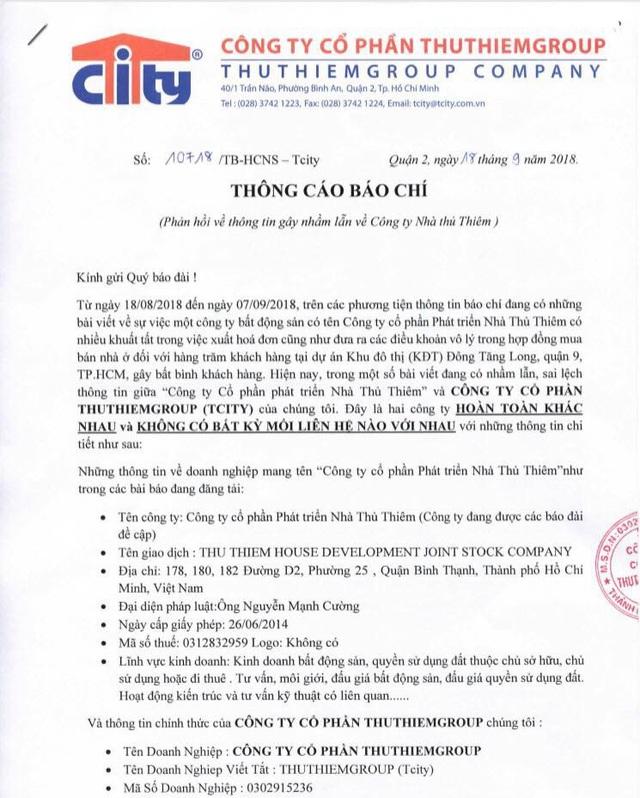 ThuThiemGroup lên tiếng sau khi bị nhầm lẫn là chủ đầu tư  dự án Đông Tăng Long - 1