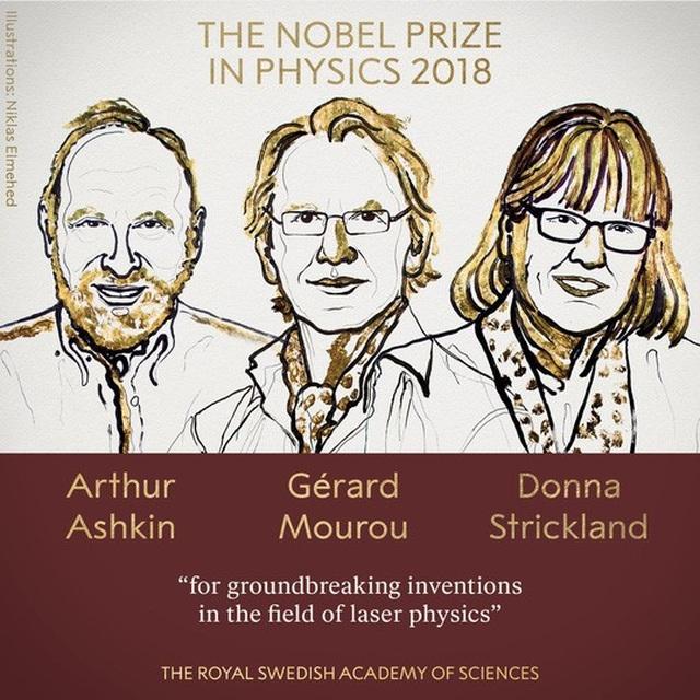 3 nhà khoa học được trao giải Nobel Vật lý 2018. Ảnh: Twitter