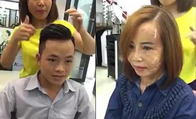 Cô dâu 62 tuổi đi cắt tóc khi khuôn mặt vẫn còn sưng phồng, bầm tím