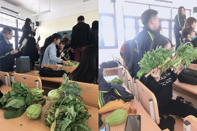 Ngày 20/10, nam sinh trường ĐH Nông nghiệp Hà Nội đã tặng các bạn nữ trong lớp những món quà đúng chất nông nghiệp bao gồm đủ các loại rau, quả.