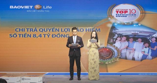 Ngày 21/10/2018 vừa qua, Bảo Việt Nhân thọ đã tổ chức chi trả quyền lợi bảo hiểm cho vợ chồng khách hàng thiệt mạng do hỏa hoạn tại TP. Hồ Chí Minh với số tiền chi trả 8,4 tỷ đồng.
