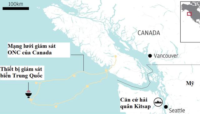 Đồ họa vị trí lắp đặt các thiết bị giám sát biển của Trung Quốc gần căn cứ hải quân Mỹ. (Nguồn: SCMP)