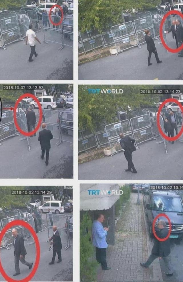 Các hình ảnh ghi lại từ camera an ninh cho thấy nhà báo Khashoggi đã đi vào lãnh sự quán Ả rập Xê út. (Ảnh: TRT)