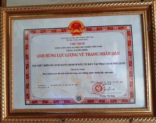 Với những gì đóng góp cho tổ quốc, ông Kế được Chủ tịch nước phong tặng danh hiệu AHLLVTND.