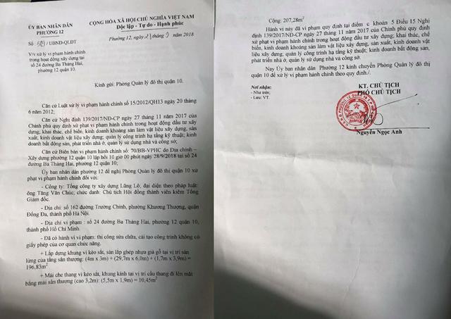 Văn bản số 589 Phó Chủ tịch UBND phường 12 (quận 10, TPHCM) vừa ký ban hành