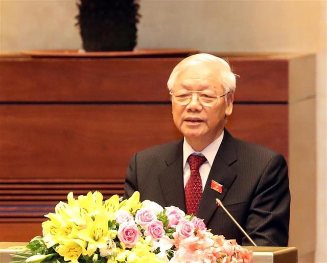 Tổng Bí thư Nguyễn Phú Trọng, Chủ tịch nước CHXHCN Việt Nam nhiệm kỳ 2016-2021 phát biểu nhậm chức. Ảnh: Trọng Đức - TTXVN