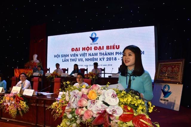 Phó Bí thư Thành Đoàn, Chủ tịch Hội Sinh viên TP Hà Nội Chu Hồng Minh khai mạc Đại hội (Ảnh: Vương Đức)