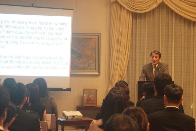 Đại sứ Nhật Bản tại Việt Nam Umeda Kunio phát biểu tại lễ khởi động và giới thiệu Chương trình đặc biệt tăng cường công tác bồi dưỡng giáo viên tiếng Nhật tại Việt Nam. (Ảnh: Thành Đạt)