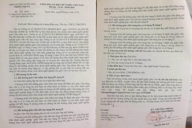 Công văn của Phòng Nội vụ huyện Tuyên Hóa yêu cầu các trường lập danh sách giáo viên trong biên chế phải đăng ký bồi dưỡng chuẩn chức danh nghề nghiệp đối với giáo viên mầm non, tiểu học và THCS.