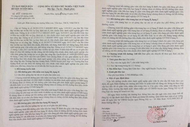 Công văn của UBND huyện Tuyên Hóa