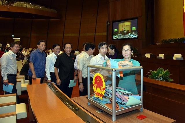 Các đại biểu bỏ phiếu tín nhiệm 48 lãnh đạo chủ chốt sáng nay. (Ảnh: Việt Hưng)