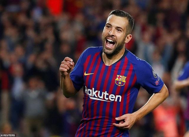 Niềm vui của Jordi Alba với bàn thắng ấn định tỷ số 2-0 ở phút 82