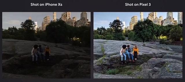 Một bức ảnh chụp trong điều kiện thiếu sáng với iPhone XS (trái) và Pixel 3 (phải) với chế độ Night Sight được kích hoạt