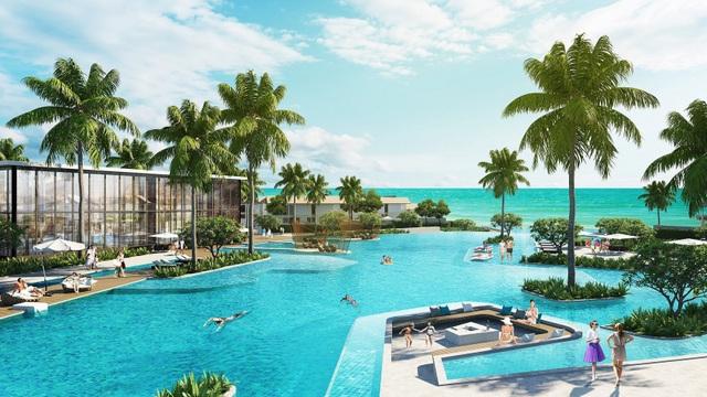 Phối cảnh bể bơi hiện đại trong khuôn viên dự án Sun Premier Village Kem Beach Resort