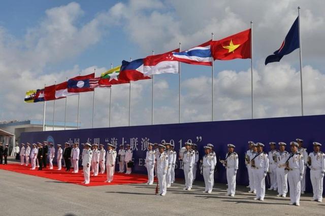 Lễ khai mạc cuộc tập trận hải quân ASEAN - Trung Quốc ngày 22/10. (Ảnh: Straitstimes)