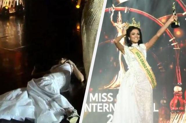 Tân hoa hậu Hòa bình quốc tế ngất xỉu khi đăng quang - 1
