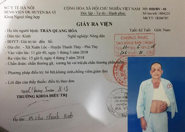 Ông Trần Quang Hoà bị đánh gãy xương bả vai, nhưng vẫn còn bị xử phạt vi phạm hành chính (?!).