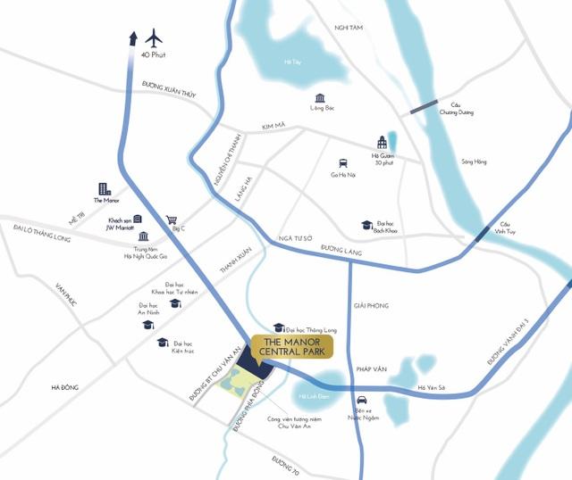 The Manor Central Park nằm ở vị trí đắc địa khu vực Tây Nam Hà Nội.