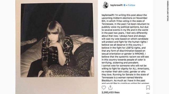 Ca sĩ Taylor Swift kêu gọi người hâm mộ bỏ phiếu trên mạng xã hội Instagram Ảnh: CNN