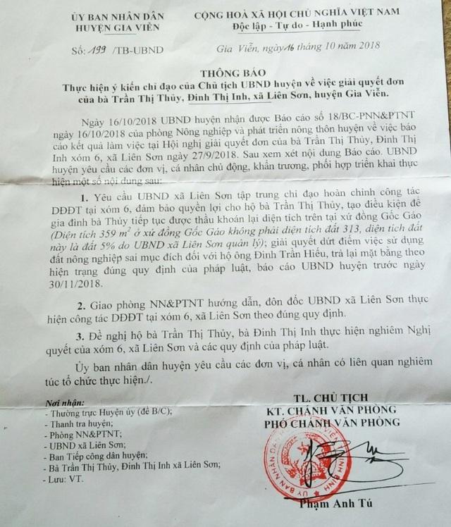 Văn bản UBND huyện Gia Viễn yêu cầu xã Liên Sơn xử lý sai phạm của con ông Trưởng thôn, báo cáo trước ngày 30/11/2018.