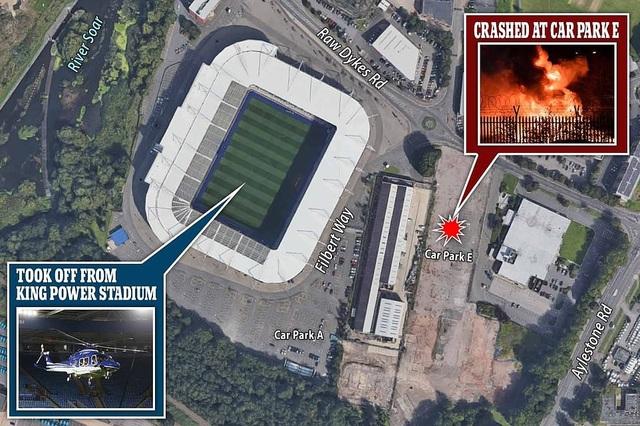 Hình ảnh cho thấy sân vận động King Power và vị trí trực thăng gặp nạn.