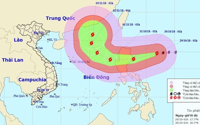Vị trí và hướng di chuyển của bão Yutu. (Ảnh: NCHMF).