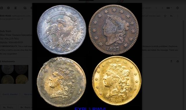 Một nhóm thợ lặn đã tìm thấy những đồng tiền xu vàng cực kì hiếm từ năm 1840 dưới đáy biển. (Nguồn: The Charlotte Observer)