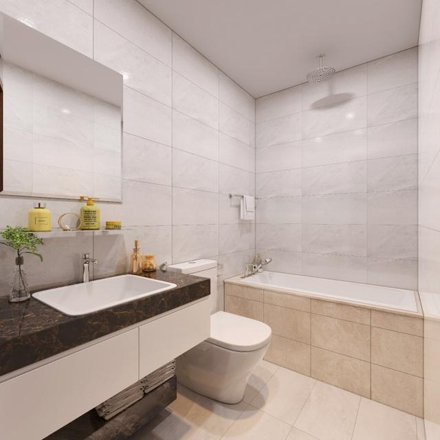 Nội thất nhà tắm sử dụng thương hiệu siêu sang Duravit, HansGrohe hoặc Grohe nhằm mang tới sự thoải mái cho cư dân trong những giây phút thư giãn riêng tư.