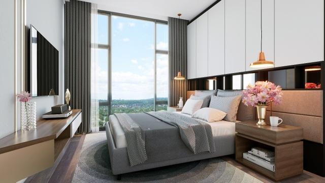 Nội thất phòng ngủ với màu sắc trung tính, tạo cảm giác ấm áp, an yên.