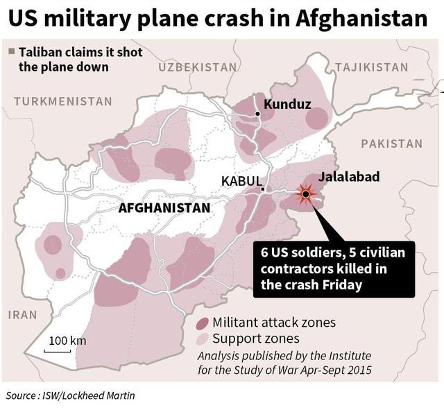 Vị trí máy bay quân sự Mỹ rơi ở Afghanistan (Ảnh: AFP)