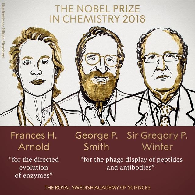 Ba chủ nhân giải Nobel Hóa học 2018 (Ảnh: Viện Hàn lâm khoa học Thụy Điển)