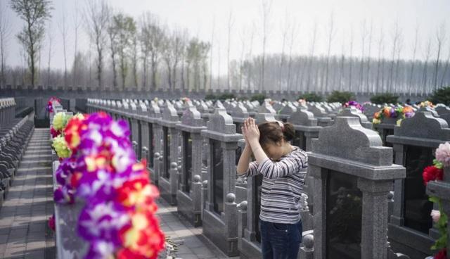 Một cô gái tới thăm nghĩa trang ở Dagantangcun, Thông Châu, Bắc Kinh (Ảnh: AFP)
