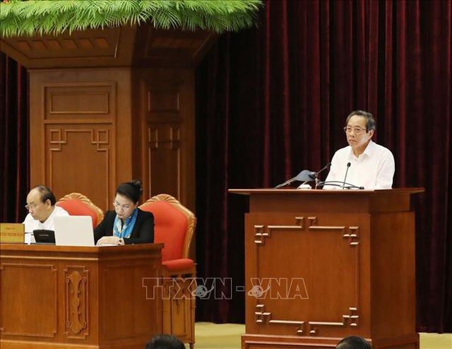 Đồng chí Hoàng Đăng Quang, Ủy viên Trung ương Đảng, Bí thư Tỉnh ủy Quảng Bình phát biểu. Ảnh: Phương Hoa/TTXVN