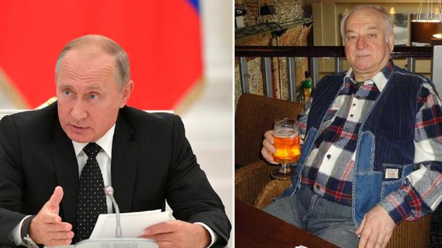Tổng thống Putin (trái) và cựu điệp viên Skripal (Ảnh: RT)