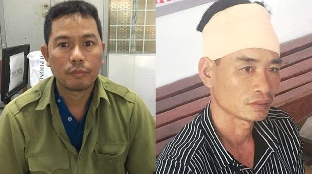 Hai đối tượng Vũ Văn Biên và Vũ Ngọc Hưng đang bị công an tạm giữ.