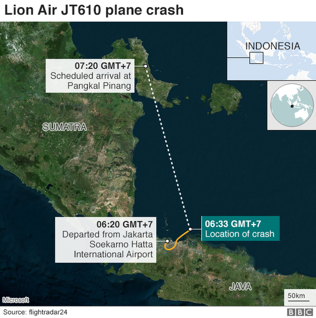 Máy bay Lion Air xin quay đầu chỉ vài phút sau khi cất cánh. (Đồ họa: BBC)