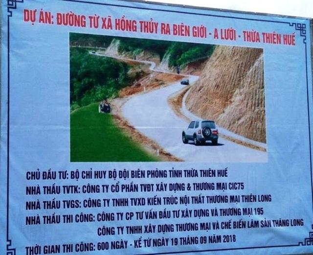 Thông tin về dự án đường giao thông do BĐBP tỉnh Thừa Thiên Huế triển khai.