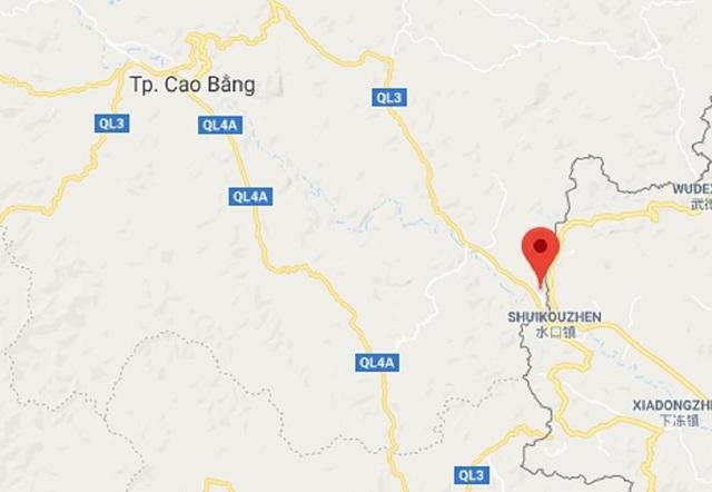 Thị trấn Tà Lùng (Phục Hòa, Cao Bằng) nằm sát biên giới. Ảnh: Google Map